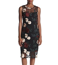 Calvin Klein Floral Embroidered Sheath Knit Dress