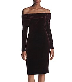 Calvin Klein Off Shoulder Velvet Sheath Dress