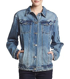 Boom Boom Embroidered Patch And Stud Jean Jacket