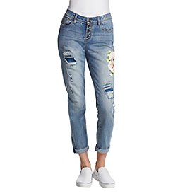 Black Daisy Jamie Best Friend Floral Embroidered Distressed Cuff Jeans