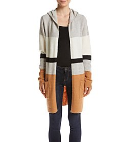no comment Colorblock Striped Hooded Cardigan