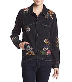 BLANKNYC Floral Embroidered Black Denim Jacket