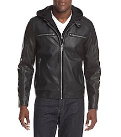GUESS Men's Faux Leather Hooded Jacket