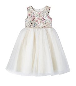 Laura Ashley Girls 2T-6X Brocade Top And Tulle Skirt Dress