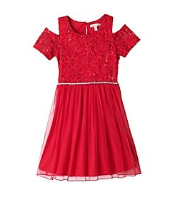 Speechless® Girls' 7-16 Cold Shoulder Dress With Sequin Bodice And Skirt