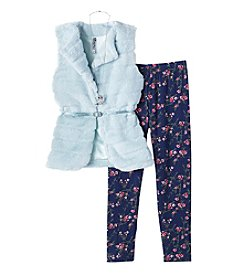 Beautees Girls' 7-16 2 Piece Fur Vest And Floral Leggings Set