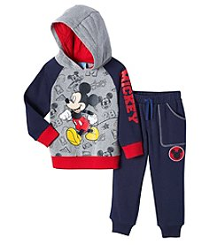 Disney Boys' 2T-4T 2 Piece Quilted Fleece Mickey Hoodie And Pants Set