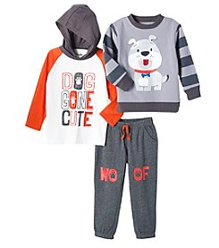 Nannette Boys' 2T-4T Dog Gone Cute Hooded Pullover And Pants Set