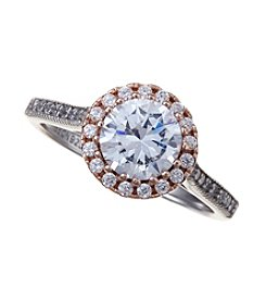 Willow Two Tone Round Pave Cubic Zirconia Ring