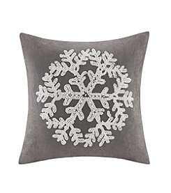 Madison Park™ Snowflake Embroidered Suede Square Pillow