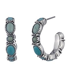 Chaps® Turquoise Cabachon Set C Hoop Earrings