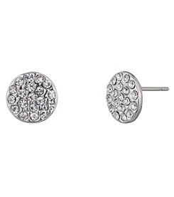 Chaps® Silvertone Pave Button Earrings