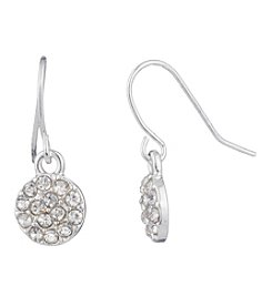 Chaps® Small Pave Disc Drop Earrings