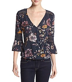 Eyeshadow® Printed Wrap Front Top