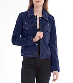 Bagatelle® Suede Studded Trucker Jacket
