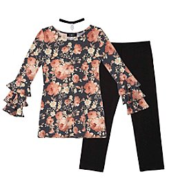 A. Byer Girls' 7-16 Long Sleeve Ruffled Top With Leggings Set