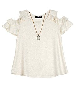 A. Byer Girls' 7-16 Short Sleeve Ruffled Cold Shoulder Tee