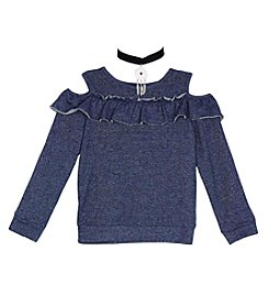 A. Byer Girls' 7-16 Long Sleeve Cold Shoulder Sweatshirt With Choker