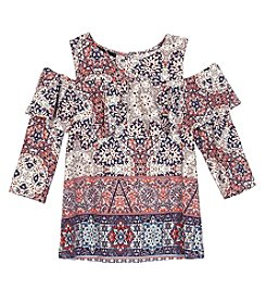A. Byer Girls' 7-16 Cold Shoulder Print Top