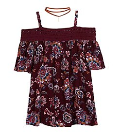 A. Byer Girls' 7-16 Cold Shoulder Print Top With Choker