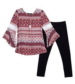 A. Byer Girls' 7-16 Long Sleeve Peasant Top And Leggings Set