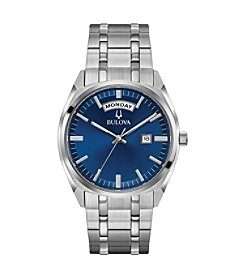 Bulova Men's Classic Collection Stainless Blue Dial Bracelet Watch