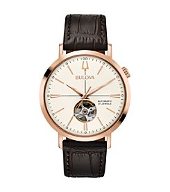 Bulova Men's Classic Automatic Rosetone Stainless Croco Leather Strap Watch