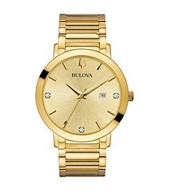Bulova Men's Modern Collection Goldtone Stainless Bracelet Watch with Diamond Aceents