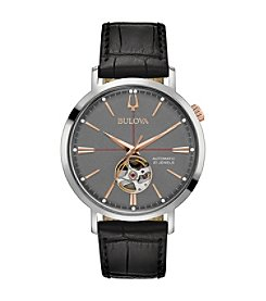 Bulova Men's Classic Automatic Collection Rose Goldtone Stainless Black Croco Leather Strap Watch