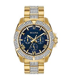 Bulova Men's Swarovski Crystals Collection Goldtone Stainless Blue Dial Bracelet Watch