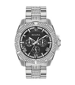 Bulova Men's Swarovski Crystal Bezel Multifunction Stainless Bracelet Watch