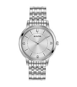 Bulova Men's Ultra-Slim Classic Stainless Bracelet with Diamond Accents Watch