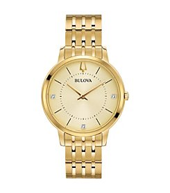 Bulova Women's Classic Collection Goldtone Stainless Bracelet Watch with Diamond Accents