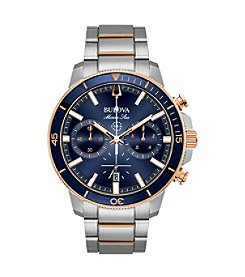 Bulova Men's Marine Star Chrono Stainless Two-tone Blue Dial Bracelet Watch