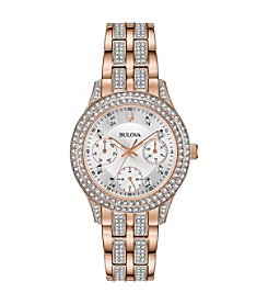 Bulova Women's Swarovski Crystals Collection Rose Gold-tone Stainless Multi-function Bracelet Watch