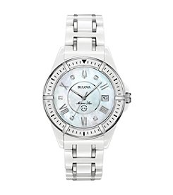 Bulova Women's Marine Star White Ceramic Stainess and Diamond Accent Bracelet Watch