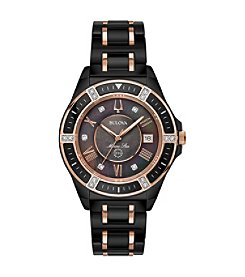 Bulova Women's Marine Star Black Ceramic Rose Goldtone Accents Bracelet Watch