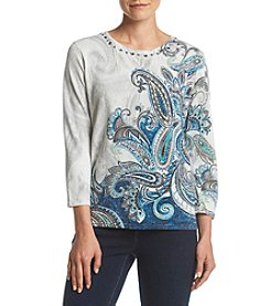 Alfred Dunner® Petites' Paisley Shimmer Sweater