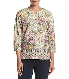 Alfred Dunner® Petites' Textured Floral Border Top
