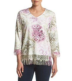 Alfred Dunner® Petites' Printed Fringe Sweater