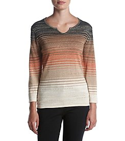 Alfred Dunner Petites' Ombre Space Dye Sweater