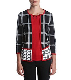 Alfred Dunner® Petites' Houndstooth Border Two For One Sweater