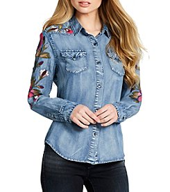 Jessica Simpson Embroidered Button Down Top