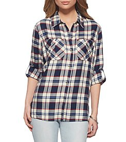 Jessica Simpson Diona Plaid Roll Up Sleeve Top