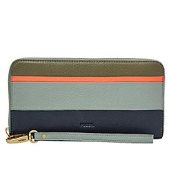 Fossil® Emma RFID Navy Stripe Large Zip Clutch