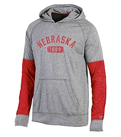 Champion® NCAA® Nebraska State Cornhuskers Men's Long Sleeve Colorblock Split Hoodie