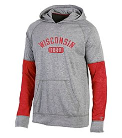 Champion® NCAA® Wisconsin Badgers Men's Long Sleeve Colorblock Split Hoodie