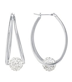 Athra Fine Silver Plated Charm Hoop Earrings