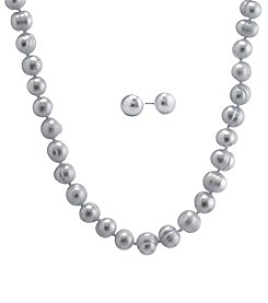Athra Sterling Silver Cultured Freshwater Pearl Necklace And Earrings Set