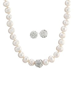 Athra Crystal And Cultured Freshwater Pearl Necklace And Earring Set